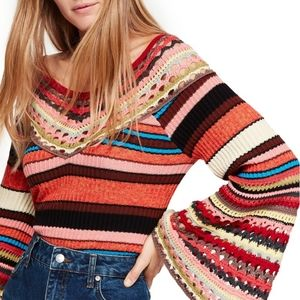 Free People Heart and Soul crochet sweater retro M